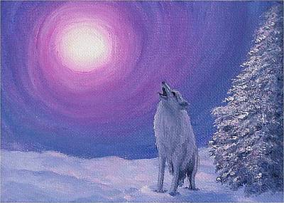 Painting - Winter Wolf Song by Fran Brooks