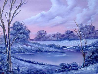 Drifting Snow Painting - Winter Wonderland by Cynthia Adams