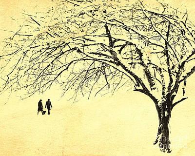 Winter Sepia Scene Digital Art - Winter Wonderland by Edmund Nagele