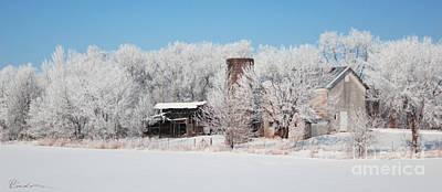 Painting - Winter Wonderland Farm Digital Painting by Robyn Saunders