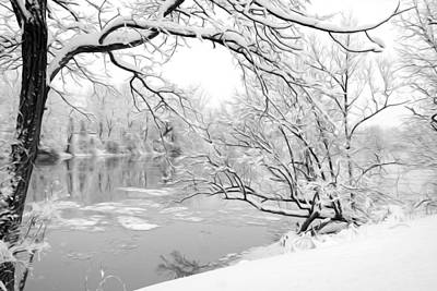 Winter Wonderland In Black And White Art Print