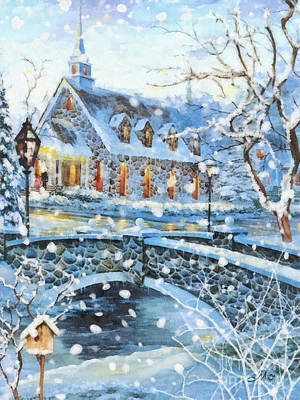 Village Church Painting - Winter Wonderland by Mo T