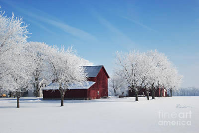 Photograph - Winter Wonderland Red Barn by Robyn Saunders