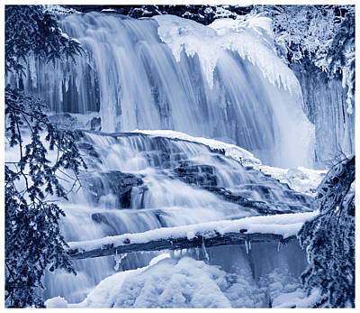 Photograph - Winter Wonderland Waterfall Blues by John Stephens