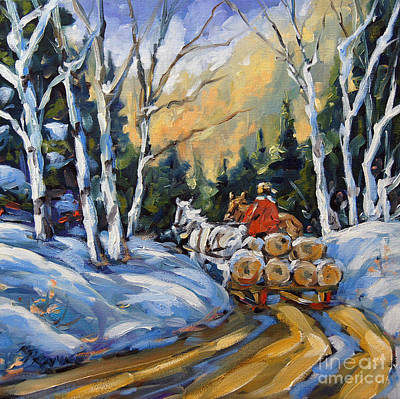 Canadiens Painting - Winter Wood Horses By Prankearts by Richard T Pranke