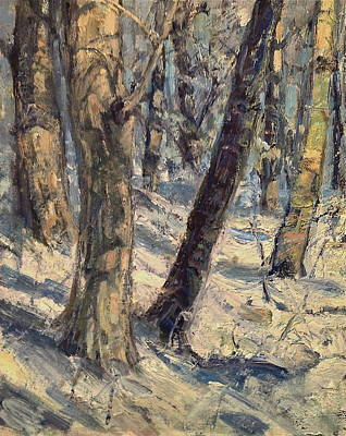 New Hampshire Artist Painting - Winter Woodland by Bruce Jones