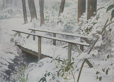 Watercolor Painting - Winter Woods by Christopher Reid