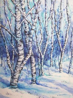 Snow Covered Ground Painting - Winter Woods by Conni  Reinecke