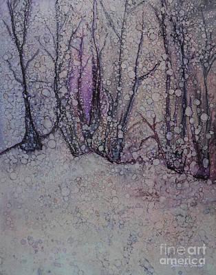 Falling Snow Painting - Winter Woods by Sari Sauls