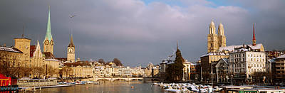 Limmat Photograph - Winter, Zurich, Switzerland by Panoramic Images