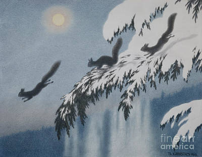 Christmas Squirrels Wall Art - Painting - Winter Evening Squirrel In Flight by Theodor Kittelsen