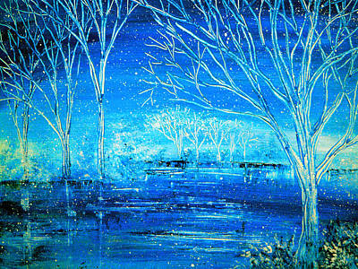River Painting - Winterlude by Ann Marie Bone