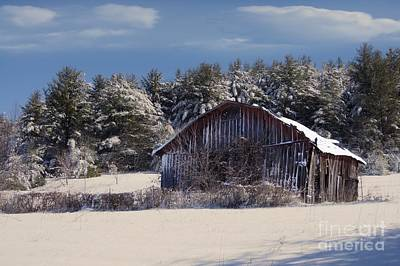 Barn Photograph - Winter's Arrival by Benanne Stiens