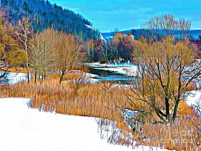 Grass Roots Digital Art - Winter's Beauty  by Helene Guertin