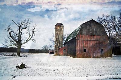 Winters Day Barn Art Print by Cheryl Cencich