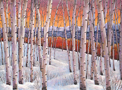 Birch Tree Painting - Winter's Dream by Johnathan Harris