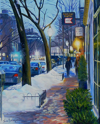 New England Snow Scene Painting - Winter Evening On Charles Street  by Sue Birkenshaw