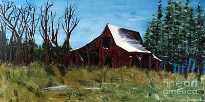 Red Barn In Winter Painting - Winter's End by Becca Lynn Weeks