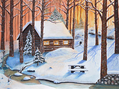 Log Cabin Painting - Winters Escape by Ken Figurski