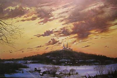 Snow Scene Landscape Painting - Winter's Eve At Holy Hill by Tom Shropshire
