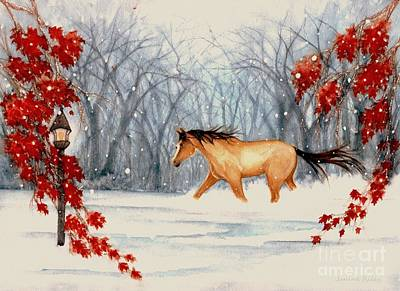 Horse In Autumn Painting - Winter's Eve by Janine Riley