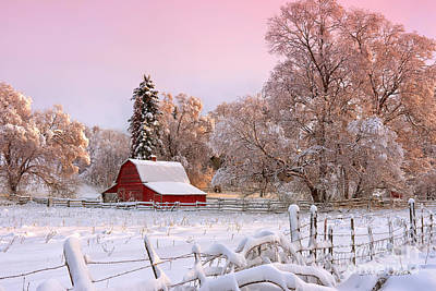 Red Barn In Winter Photograph - Winters Glow by Beve Brown-Clark Photography