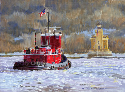 Tugboat Wall Art - Painting - Winter's Ice-olation by Marguerite Chadwick-Juner