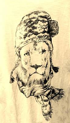 Drawing - Winter's Lion Sepia Light by Rob Hans