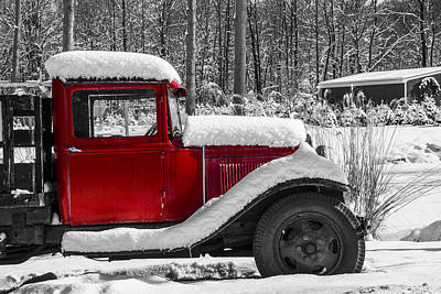 Photograph - Winters Red Truck by Karol Livote