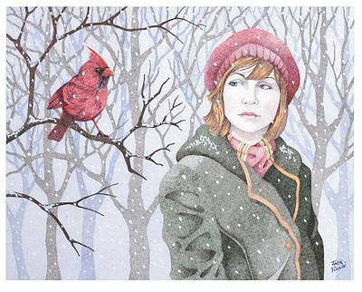 Cardinal Drawing - Winter's Tale by Jack Puglisi