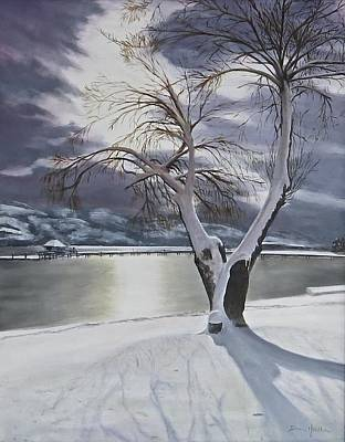 Art Print featuring the painting Winter's Whisper by Bonnie Heather