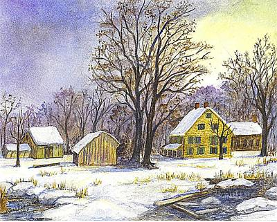 New England Snow Scene Drawing - Wintertime In The Country by Carol Wisniewski