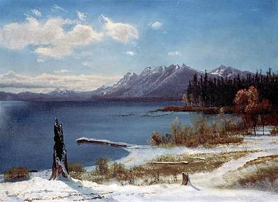 Wintertime Painting - Wintertime Lake Tahoe In Winter The Sierra Nevada California by Albert Bierstadt