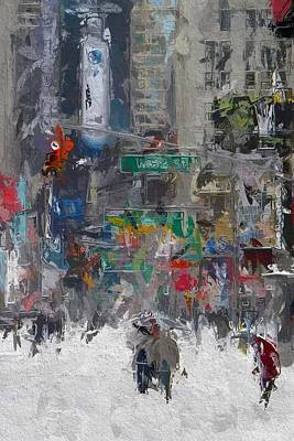 Traffic Light Mixed Media - Wintertime On Broadway by Steve K