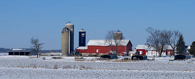 Wintertime Panoramic Of A Wisconsin Dairy Farm Art Print by Janice Adomeit