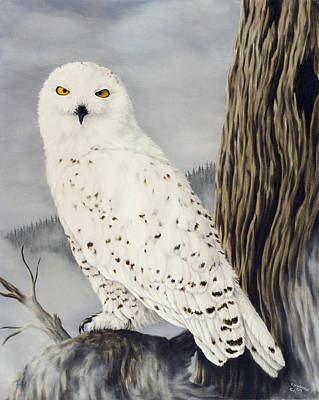 Owl Painting - Winterwise by Rick Bainbridge