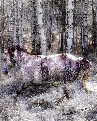 Wintery Ghost Horse Art Print