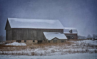 Wintry Barn Art Print by Joan Carroll