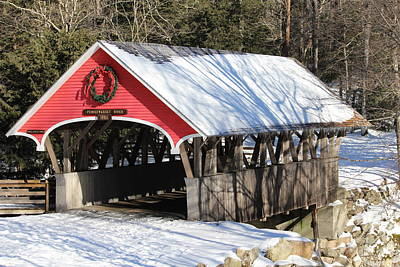 Photograph - Wintry Flume Covered Bridge by Jeffery Akerson
