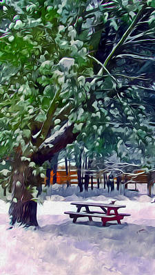 Wintry  Snowy Trees Art Print by Lanjee Chee