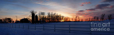 Photograph - Wintry Sunset On The Farm by Larry Ricker