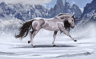 Digital Art - Wintry Unicorn by Kate Black