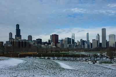 Photograph - Wintry Windy City Skyline - Chicago Illinois by Georgia Mizuleva