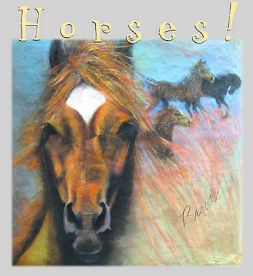 Art Print featuring the pastel Wild Horses by Brooks Garten Hauschild