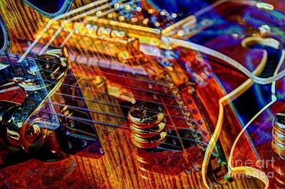 Wipe Out Digital Guitar Art By Steven Langston Art Print by Steven Lebron Langston