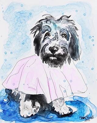 Labradoodle Painting - Wipe Your Paws by Shaina Stinard
