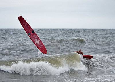 Photograph - Wipeout - Rehoboth Beach Lifeguard Olympics by Kim Bemis