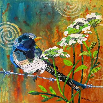 Magpies Mixed Media - Wire And Lace by Kathy Fitzgerald