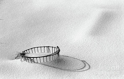 Wire Basket In Snow Art Print