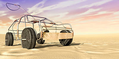 Handcrafted Digital Art - Wire Toy Car In The Desert Perspective by Allan Swart